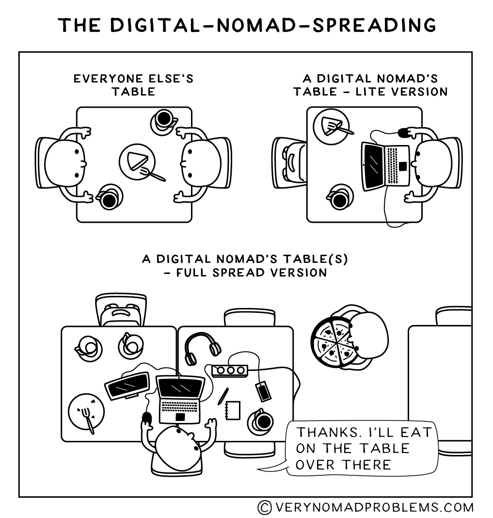 "2 digital nomads went into a cafe: ""a table for 4 please"""